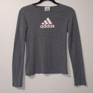 Adidas grey and pink long sleeve graphic t-shirt
